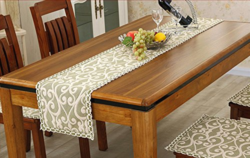 Chinese Rustic Handmade Cotton Floral Table Runners with Lace, for Rectangle Tables (11.5