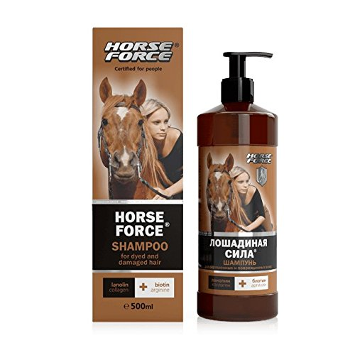 - Shampoo for Colored & Damaged Hair w/ Lanolin, Collagen & Biotin, 16.9 oz/ 500 ml (Horse Force)