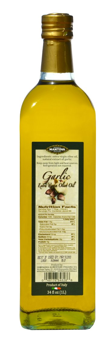 Mantova Garlic Flavored Extra Virgin Olive Oil, 34-Ounce Bottle - Imported from Italy - Authentic Italian EVOO - Perfect for Salads, Dressings, and Marinades by Mantova (Image #1)