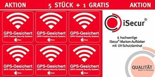 5 Unidades Pegatinas Alarma, GPS, isecur®, alarmgesichert, 40 x 40 mm, Art. Hin 069 _ Exterior, Nota a GPS de Copia, außenklebend para Ventanas, ...