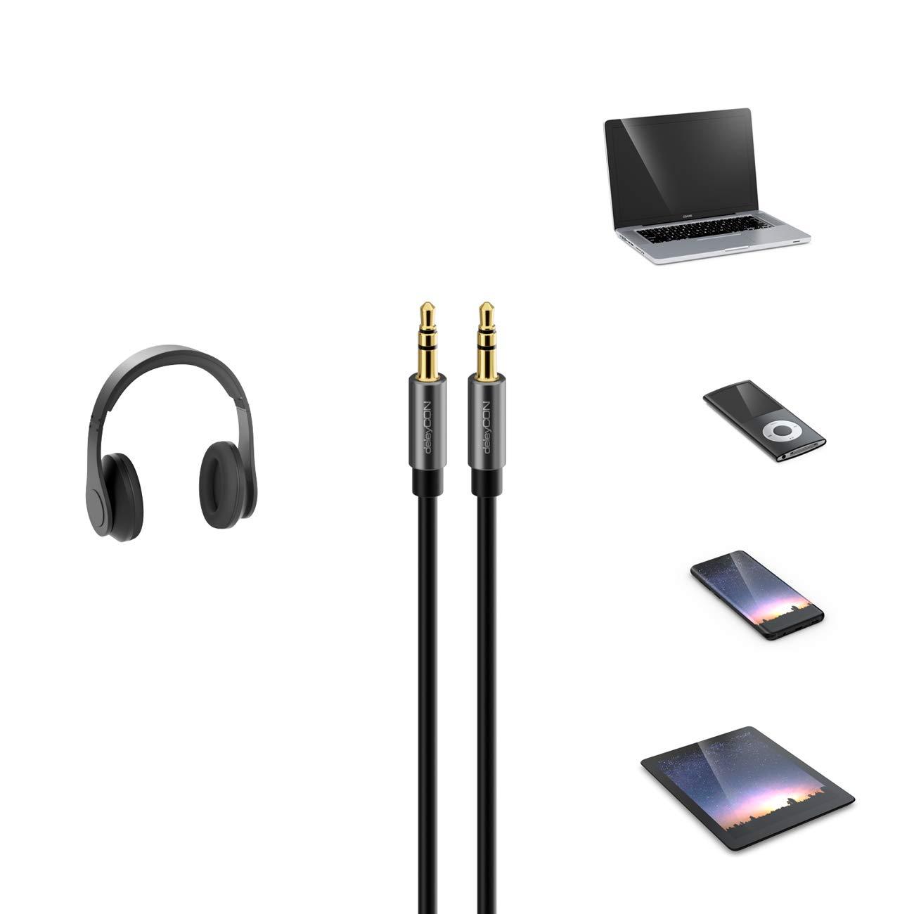 deleyCON 3m Jack Audio Stereo Cavo Aux Cavo Jack da 3,5mm Cavo Audio Spina Metallica Telefono Cellulare Smartphone Tablet Cuffia Ricevitore Hi-Fi