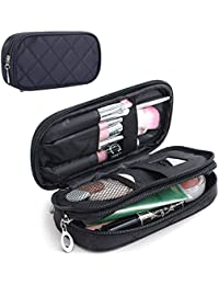 Make Up Bag for Women with Mirror Beauty Makeup Brush Bags Travel Kit Organizer Cosmetic Bag Professional Multifunctional 2 layer Organiser (Black)