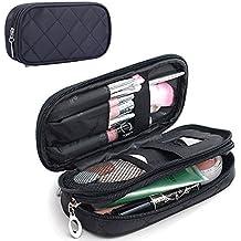 MONSTINA Make Up Bag for Women With Mirror Beauty Makeup Brush Bags Travel Kit Organizer Cosmetic Bag Professional Multifunctional 2 Layer Organiser (Black)