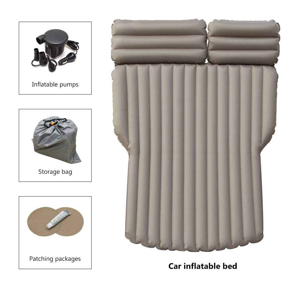 Portable Environmental Material SUV Car Camp Inflatable Car Mattress with Back Support Independent air Inflation Car Air Mattress Brown
