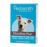 Herbsmith Microflora Plus – Dog Digestion Aid –Probiotics and Digestive Enzymes for Dogs – Prebiotic for Dogs – 60 Capsules
