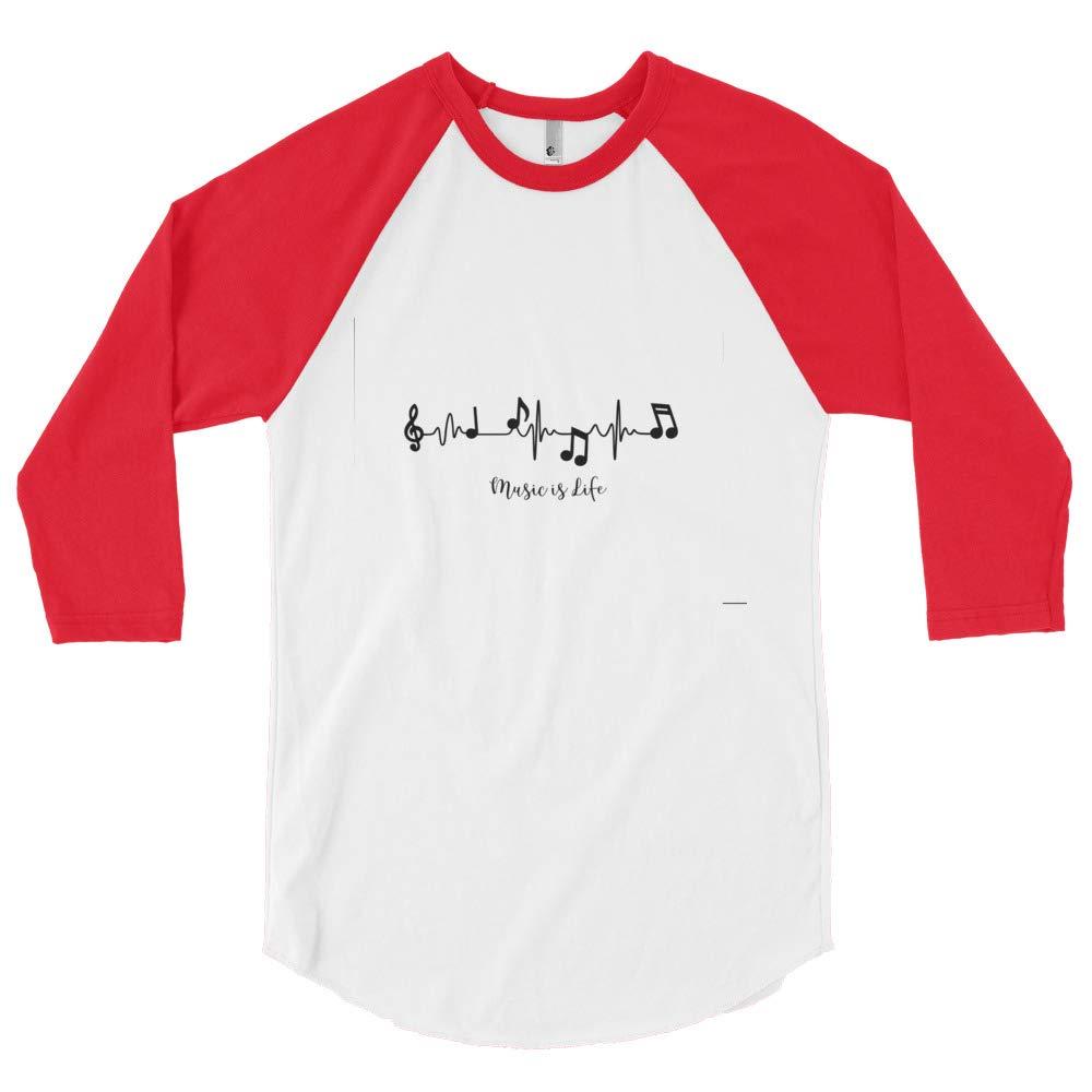 Unleashed Custom Creations 3//4 Sleeve Music is Life Raglan Shirt White//Red