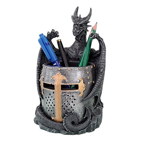 Dragon Holder (Dragon Statue with Warrior Helmet Desktop Utility Stationery Pencil Holder Organizer Office or Desktop)
