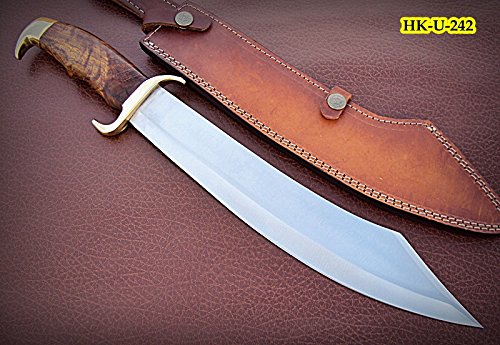 Rose Stainless Knife - REG-HK-U-242, Custom Handmade 440 C Stainless Steel 17 Inches Hunting Knife - Solid Rose Wood Handle with Brass Guard