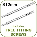 Metal drawer runners - 17mm wide x 312mm - (per pair) - Replaces most MFI, Ikea Argos etc.