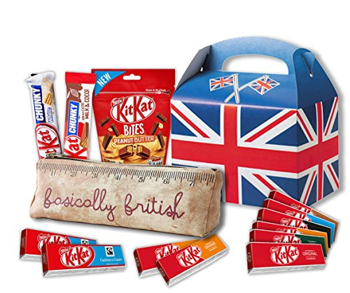 (Nestle Kit Kat Variety by The Yummy Palette | British Kit Kat Candy bars Kit Kat Peanut Butter Pouch with Basically British Retro Pencil Case)
