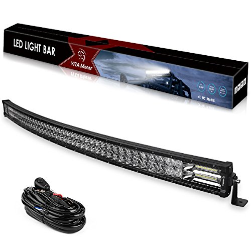 Curved LED Light Bar YITAMOTOR 384W 50 Inch 5D Spot Flood Combo LED Pod Light LED Work Light 5D Lens With Wiring Harness Off Road Light Driving Light Fog Light Jeep Light Boat Light, 2 Years Warranty