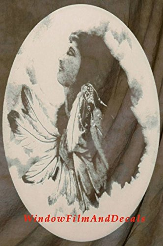 Oval Indian Princess Etched Window Decal Vinyl Glass Cling - 8