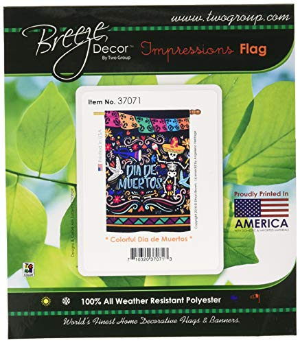 (Angeleno Heritage H137071 Colorful Dia De Muertos Fall Halloween Decorative Vertical House Flag, 28