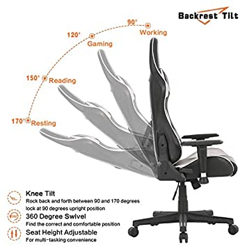 LCH Gaming Chair Racing Office Chair High Back Computer Desk Chair Adjustable Height PU Leather Executive Ergonomic Swivel Chair Bucket Seat with Headrest and Lumbar Support Silver 01