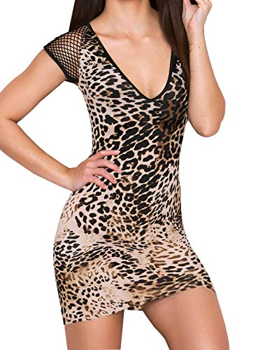 DREAGAL Women's Sexy Short Sleeve Animal Print Party Club Bodycon Mini Dress Yellow Large