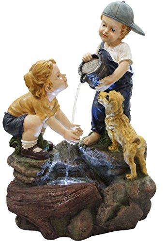 Alpine Corporation Boy Washing Girls Hands Fountain with LED Lights (Boy Outdoor Fountain)