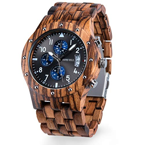 BEWELL Wooden Watches Mens Quartz Chronograph Date Display Luminous Handcrafted Wood Watch W109D (Zebra Wood)