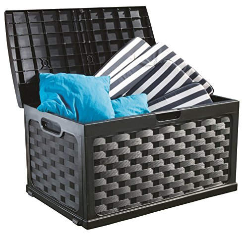 Black Deck Box (Starplast Rattan Deck Box, 71 gallon, Black/Black)
