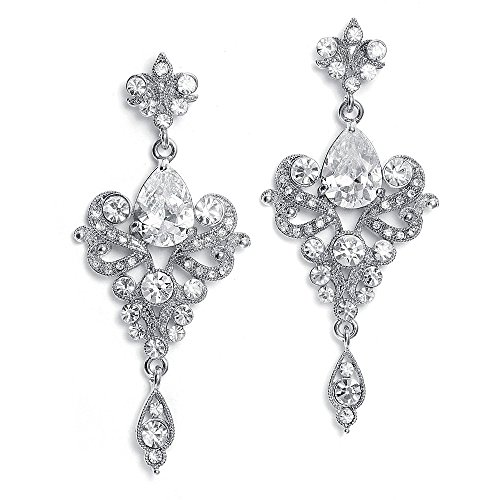 Mariell Vintage Art Deco Bold Crystal and CZ Dangle Chandelier Earrings for Prom, Homecoming & Fashion