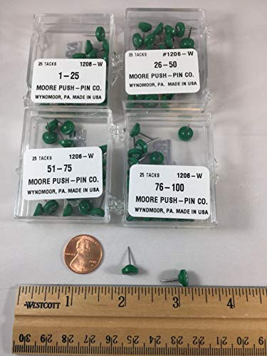 - Green Numbered Map Pins 1-100
