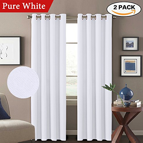 Decorative White Linen Pair Curtains Thermal Insulated Room Darkening Window Treatment Panels for Bedroom /Living Room Ultra Primitive Grommet Drapes, W52 x L96-Inch - Pure White (Panels Window Decorative)