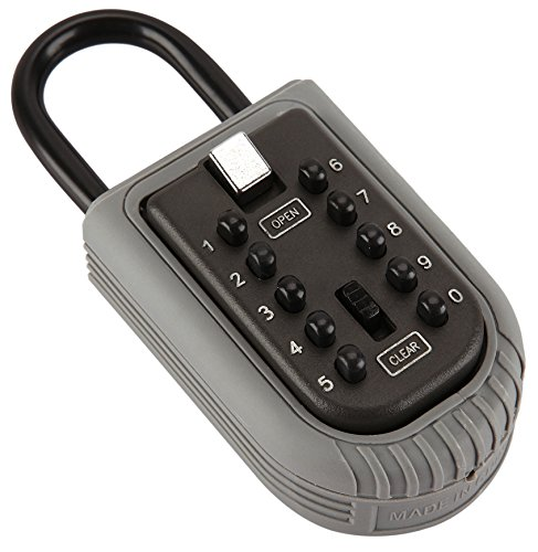 Linnai Portable Key Lock Box with 10-Digit Push Button Combination and Shackle - Perfect for Realtors, Guests, Tenants, Backup Key Storage - Can Hang from Door Handle or Fence