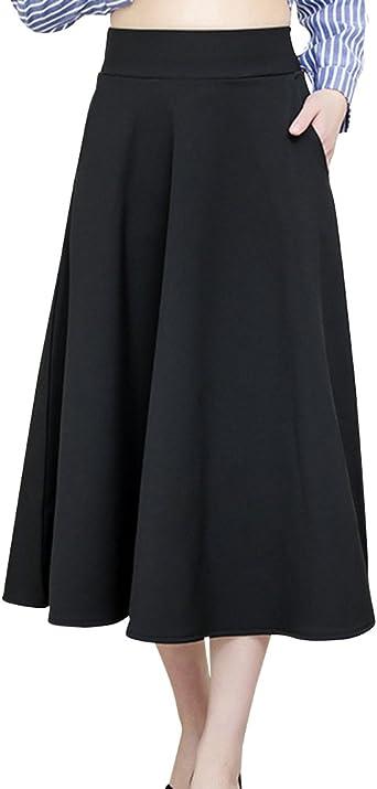 ShiFan Falda Largas Vintage Mujer Alta Cintura Plisada con ...