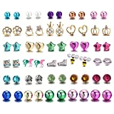 30 Pairs Stainless Steel Mixed Color Cute Animals Disco Ball Star Love Heart Crown Stud Earrings Set for Women Girls,hypoallergenic (30 Pairs Stud Earring Set)