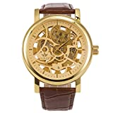 ManChDa Big Case 48MM XL Automatic Mechanical Wrist Watch Crystal Golden Leather Strap