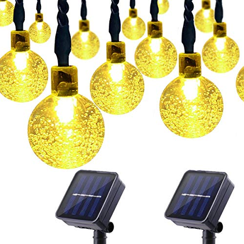 (Lalapao 2 Pack Solar Powered Globe String Lights 30 LED (19.7ft) Crystal Ball Christmas Fairy Light for Outdoor Indoor Xmas Tree Garden Path Patio Home Lawn Holiday Wedding Party Decor (Warm White))