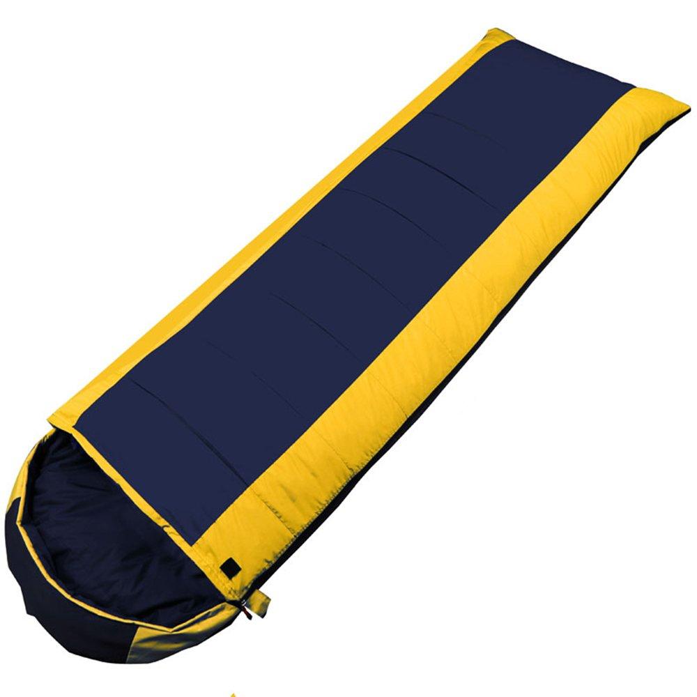 ZXQZ Erwachsene Schlafsack Outdoor Camping verdicken dicken Wärme Schlafsack Herbst und Winter Büro Mittagspause Schlafsäcke Mumienschlafsäcke (Farbe   Gelb, größe   1.3KG)