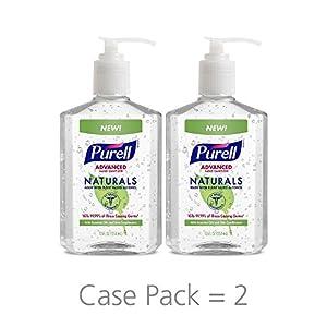 NHZJBILTRQ Naturals Advanced Hand Sanitizer - Hand Sanitizer Gel with Essential Oils, 12 fl oz Pump Bottle - 9629-06-EC(Pack of 8)