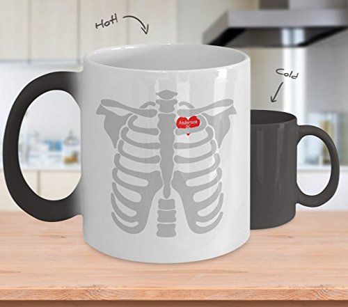 Color Changing Mug Anderson South Carolina In Heart Skeletons Halloween Heat Colour Change Mug Gift]()