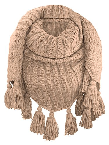 - Beige Textured Triangle Winter Knit Shawl Wrap With Tassels