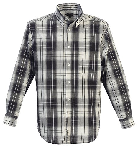 Gioberti Men's Long Sleeve Plaid Shirt, White/Black Gradient, 4X - Black White Gradient