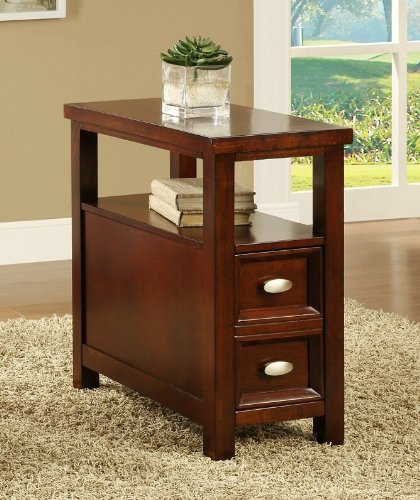 - Cherry finish wood rectangular top chair side end table with two pull out drawers and lower shelf