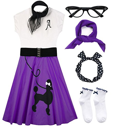 Hofolio 1950s Women Poodle Skirt Scarf Sock Costume Set ()