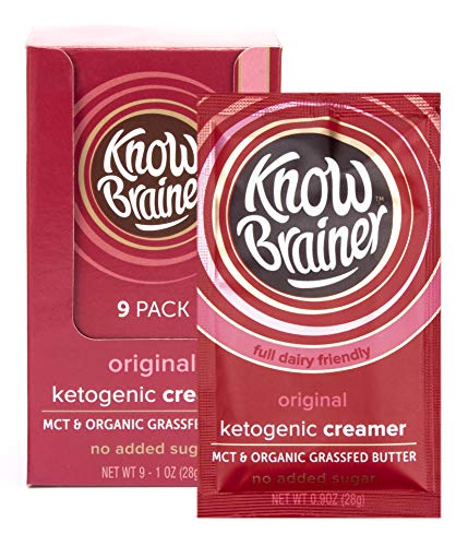 Know Brainer – Full Dairy Ketogenic Coffee Creamer – No Sugar Added – with Non-GMO MCT Oil and Organic Grass-Fed Clarified Butter – Original (9 Pack) For Sale