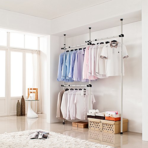Portable Indoor Garment Rack Tools-free DIY Coat Hanger Clothes Wardrobe 3 Poles 3 Bars. Heavy Duty Stainless Poles and Bars. 60kg Loading Per Horizontal Bar. Free 105cm Reach Hook Included.[3203]