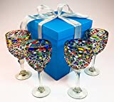 Hand blown wine glasses, pebble confetti with gift box, from Mexico, 14 oz, set of 4