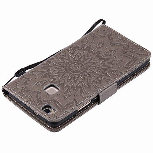 Yiizy Huawei P9 lite Custodia Cover, Sole Petali Design Sottile Flip Portafoglio PU Pelle Cuoio Copertura Shell Case Slot Schede Cavalletto Stile Libro Bumper Protettivo Borsa (Grigio)