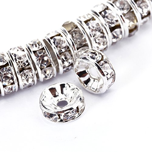 BRCbeads 8mm Silver Plated Crystal Rondelle Spacer Beads 50pcs per bag for jewelery making(#001 Clear Crystal) (Glass Silver Bracelet Plated)