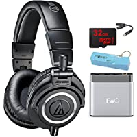 Audio-Technica ATH-M50X Professional Studio Headphones (Black) Portable Headphone Amp Bundle includes Headphones, Amplifier, Keychain Power Bank, Bag, Splitter and 32GB MicroSD High-Speed Memory Card