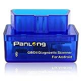 Panlong OBD2 OBDII Bluetooth Scanner ELM327 Check Engine Light (MIL) Car Diagnostic Code Reader for Android