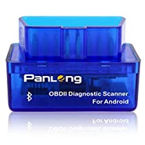 Panlong OBD2 OBDII Bluetooth Scanner ELM327 Check Engine Light (MIL) Car Diagnostic Code Reader for Android