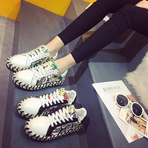 Deportivos EUR35 Individuales Los con Del Pequeños negro Femeninos Zapatos Cuerda Zapatos Aumento Inferior Cáñamo de Dentro Gruesa Zapatos Mollete Blancos 1THBqF