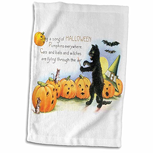 3dRose BLN Vintage Halloween - Vintage Sing a Song of Halloween Black Cat Bats and Jack O Lantern Pumpkins - 12x18 Hand Towel (twl_126093_1)