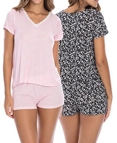 Rene Rofe Sleepwear Women's (4-Piece) Spring Pajama T-Shirt Short Set, Pink Dots/Black Floral, Large
