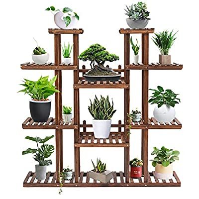 Tooca Plant Stand Wood Indoor, Multi-Tier, 47-inch Height, Stylish Plant Shelf Steady Vertical Outdoor, Tiered Plant Ladder, Display Storage Rack, Carbonized, with 3 Gardening Tools : Garden & Outdoor