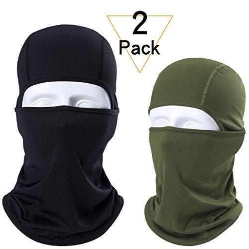 JIUSY 2 Pack – Breathable Windproof Balaclava Face Mask Protection Helmet Liner for Motorcycle Cycling Skiing Snowboard ATVing Hunting Hiking Fishing Skydiving Outdoor Sports Black and Army Green